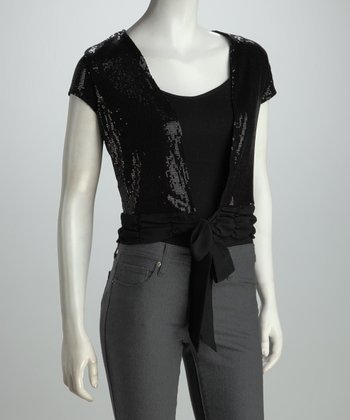 Black Sequin Scallop Tie-Front Top