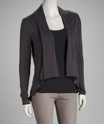 Anthracite Shirttail Open Cardigan