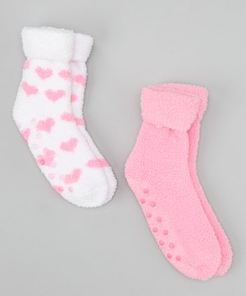 Pink & White Hearts Lavender-Infused Chenille Socks Set