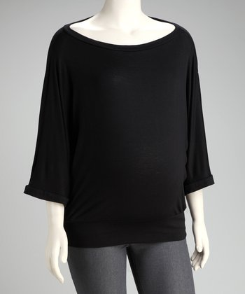 Black Boat Neck Maternity Top