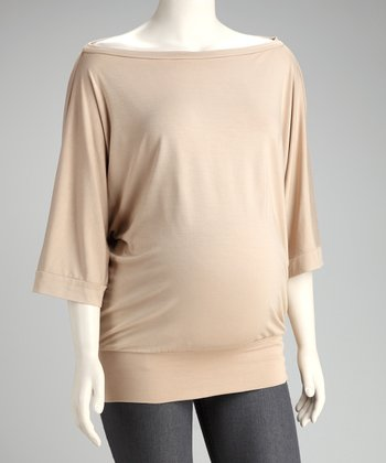 Khaki Maternity Dolman Top - Women