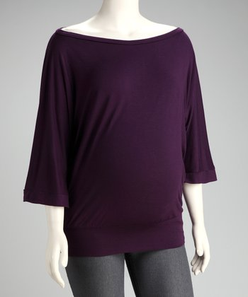 Purple Scoop Neck Maternity Top