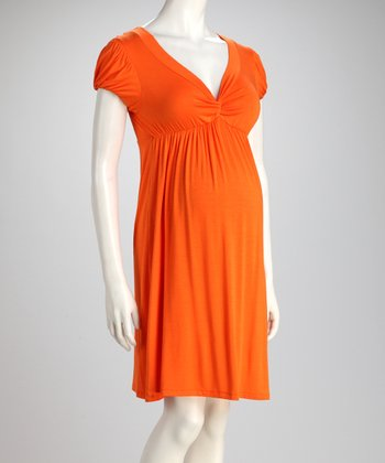 Orange Knot Maternity Dress