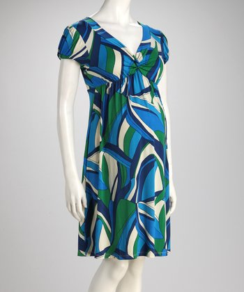 Blue Abstract Knot Maternity Dress
