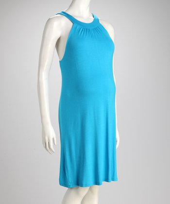 Turquoise Maternity Yoke Dress