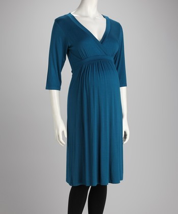 Teal Maternity Empire-Waist Dress
