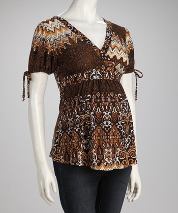 Brown Bohemian Maternity Surplice Top