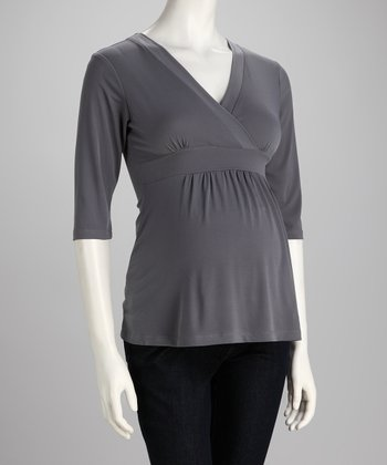 Gray Maternity Surplice Top
