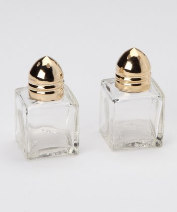 Gold Mini Cube Salt & Pepper Shaker - Set of 12
