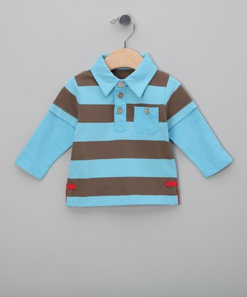 Blue & Brown Stripe Organic Layered Polo - Infant