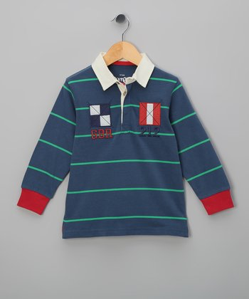Navy & Green Stripe Organic Polo - Toddler & Boys