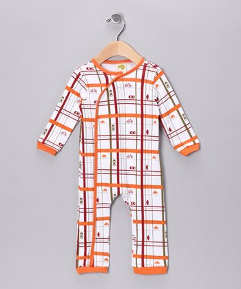 Orange Plaid Parkway Organic Playsuit - Infant