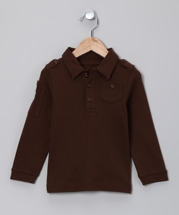 Chocolate Military Polo - Toddler & Boys
