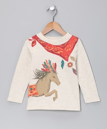 Oatmeal Wild Horse Tee - Toddler & Girls