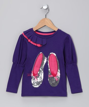 Plum Sequin Slippers Tee - Toddler