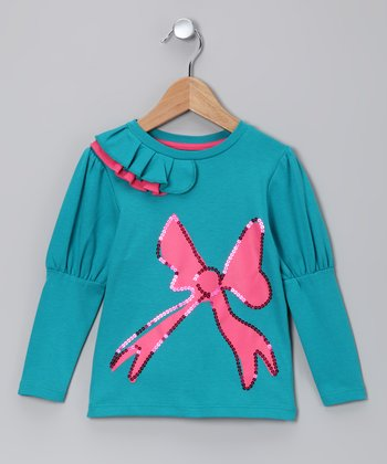 Aqua & Pink Sequin Bow Tee - Toddler & Girls
