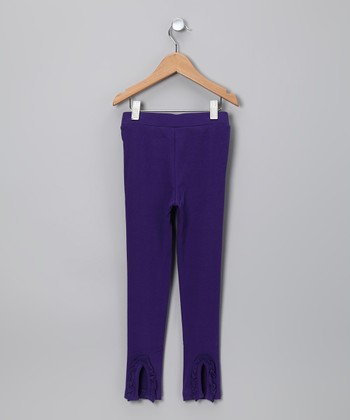 Plum Ruffle Flare Leggings - Toddler & Girls