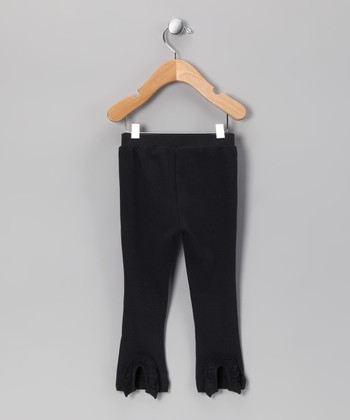 Black Ruffle-Back Leggings - Infant
