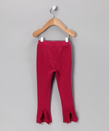 Magenta Ruffle-Back Leggings - Infant