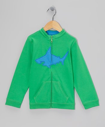 Green & Blue Shark Sweater - Toddler & Boys