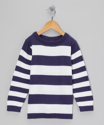 Midnight Blue & White Stripe Sweatshirt - Toddler & Boys