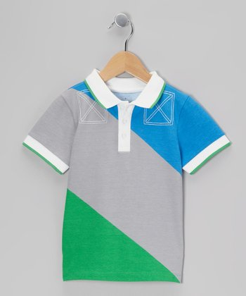 Cobalt & Green Block Polo - Toddler & Boys