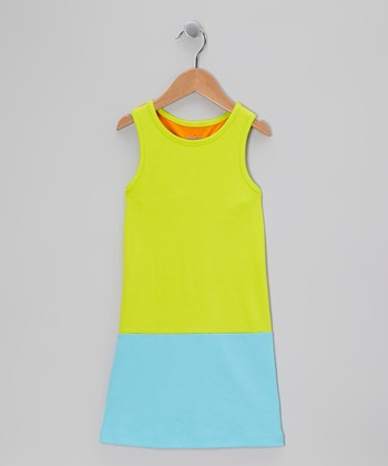 Lime & Turquoise Racerback Shift Dress - Toddler & Girls