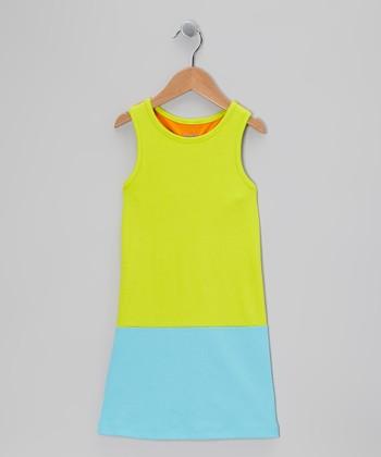 Lime & Turquoise Racerback Shift Dress - Toddler & Girls