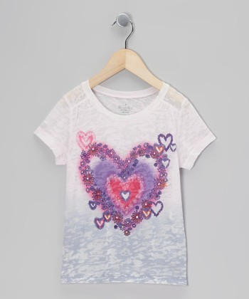 Lavender Rhinestone Heart Burnout Tee - Toddler & Girls