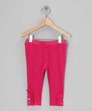 Hot Pink Ruffle Capri Leggings - Toddler & Girls