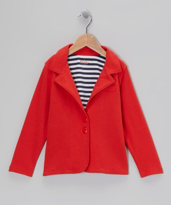 Crimson Stripe-Lined Jacket - Toddler & Girls