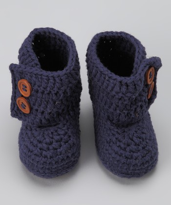 Navy Blue Knit Baby Boot