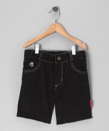 Black Surfer Corduroy Shorts - Boys