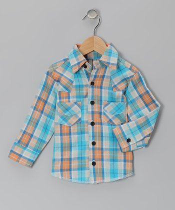 Aqua Plaid Button-Up - Infant