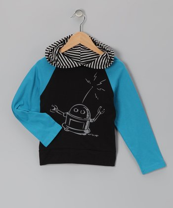 Blue & Black Robot Raglan Hoodie - Infant, Toddler & Boys
