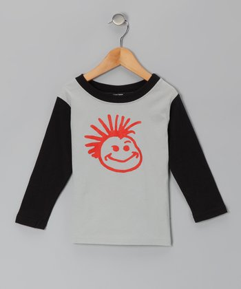 Gray & Black Checkerboard Raglan Tee - Infant