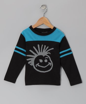 Blue & Black Football Long-Sleeve Tee - Infant, Toddler & Boys