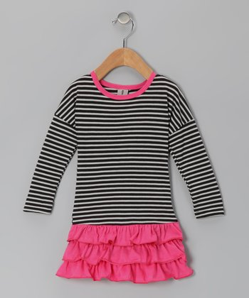 Pink & Black Stripe Ruffle Dress - Infant