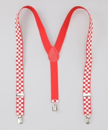 Red & White Checkerboard Suspenders