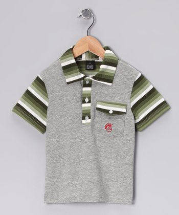 Green & Gray Stripe Pocket Polo - Infant, Toddler & Boys