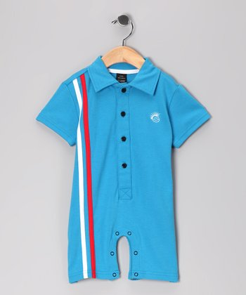 Blue Retro Stripe Polo Romper - Infant