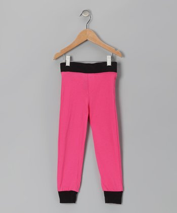 Pink & Black Cuff Pants - Infant & Girls