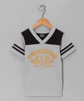 Gray & Black 'Little Threads' Football Tee - Toddler & Boys