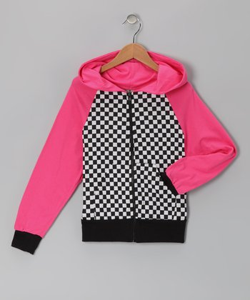Pink & Black Checkerboard Zip-Up Hoodie - Infant, Toddler & Girls