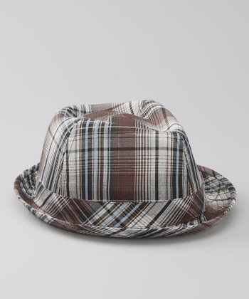 Brown & Blue Plaid Fedora