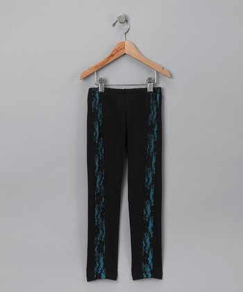 Black & Turquoise Lace Leggings - Girls