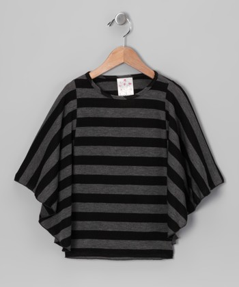 Black Stripe Cape-Sleeve Top - Girls