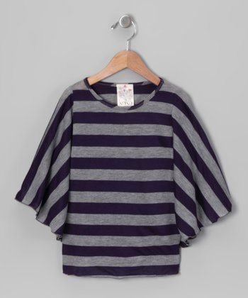 Navy Stripe Cape-Sleeve Top - Girls