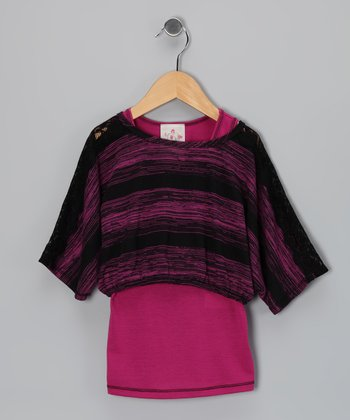 Fuchsia & Black Stripe Hacci Tank & Top - Girls