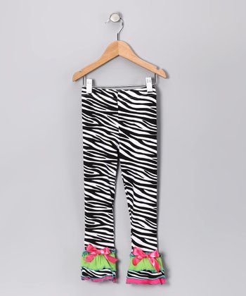 Pink Zebra Ruffle Leggings - Infant, Toddler & Girls